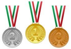 Medalhas de bronze de prata do ouro ajustadas Foto de Stock