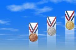 Medalhas de ouro de prata de bronze Imagens de Stock