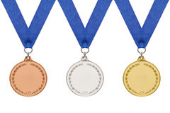 Medalhas de ouro de prata de bronze genéricas no branco. Fotos de Stock Royalty Free