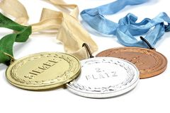 Medalhas do ouro, as de prata e as de bronze Foto de Stock Royalty Free