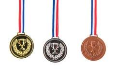 Medalhas do prata do ouro e as de bronze Fotografia de Stock Royalty Free