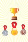 Medalhas do prata do ouro e as de bronze, crachá da medalha Fotografia de Stock Royalty Free