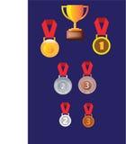 Medalhas do prata do ouro e as de bronze, crachá da medalha Imagem de Stock
