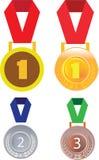 Medalhas do prata do ouro e as de bronze, crachá da medalha Imagens de Stock