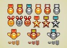 Medalhas douradas, de prata e de bronze e realizações ilustração stock