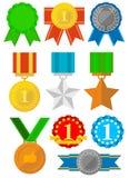 Medalhas e ícones das concessões ajustados Ouro, prata, bronze Foto de Stock Royalty Free
