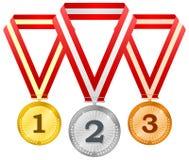 Medalhas em fitas Imagem de Stock Royalty Free