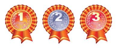 Medalhas lustrosas do ouro, do prata e as de bronze Imagem de Stock Royalty Free