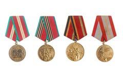 Medalhas militares soviéticas do jubileu Fotos de Stock Royalty Free