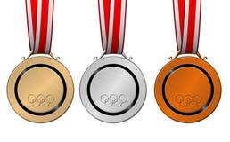 Medalhas olímpicas Fotografia de Stock Royalty Free