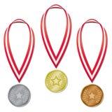 Medalhas olímpicas - estrela & louros Imagens de Stock Royalty Free