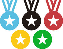 5 medalhas que evocam os anéis olímpicos ilustração stock