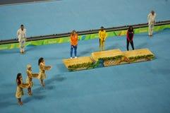 Medalheiro olímpico no evento da sprint do ` s 200m das mulheres nos Olympics Rio2016 Imagem de Stock Royalty Free