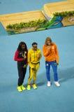 Medalheiro olímpico no evento da sprint do ` s 200m das mulheres nos Olympics Rio2016 Fotografia de Stock