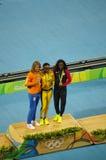 Medalheiro olímpico no evento da sprint do ` s 200m das mulheres nos Olympics Rio2016 Fotografia de Stock Royalty Free