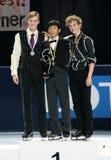 Medalheiros na única patinagem dos homens Fotos de Stock Royalty Free