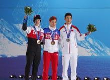 Medaliests em homens de patinagem da velocidade curto da trilha 500m Imagem de Stock Royalty Free