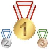 medaliony najpierw, drugi, trzeci Zdjęcia Royalty Free