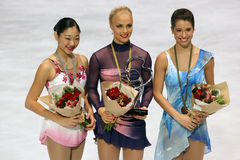 Medalists in ladies single skating Stock Images
