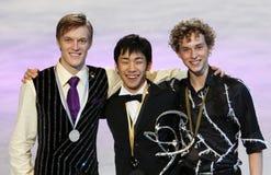 Medalists in men single skating Stock Photo