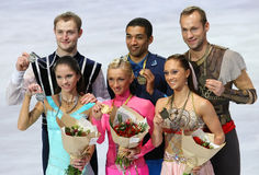 Medalists in pair skating Royalty Free Stock Photography