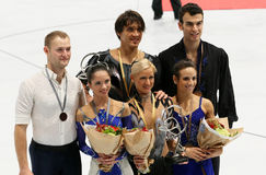 Medalists in pair skating Stock Photography