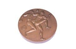 Medalj 1983 för deltagande för mästerskap för Helsingfors friidrottvärld som är omvänd Kouvola Finland 06 09 2016 arkivbilder