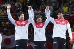 Medalj för lag för man` s Japan silverpå OS:en 2016 Fotografering för Bildbyråer