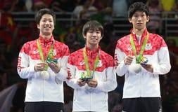 Medalj för lag för man` s Japan silverpå OS:en 2016 Arkivbilder