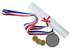 Medalj och diplom Royaltyfri Foto