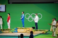 Medaljceremoni av att lyfta för vikt 85kg på Rio2016 Royaltyfria Bilder