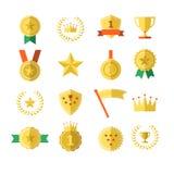 Medaljer för överkant för vinnare för mästare för framgång för nummer ett för krona för stjärna för emblem för sportutmärkelsetro stock illustrationer