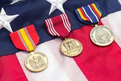 Medaljer för USA-flaggamilitär Royaltyfria Foton