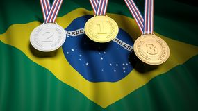 Medaljer mot av den Brasilien nationsflaggan stock illustrationer