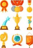 Medaljer och kuper objekt i plan stil Arkivbild