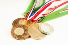 Medaljer på den vita bakgrunden Fotografering för Bildbyråer