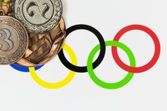 Medaljer på OS:en fotografering för bildbyråer