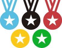5 medaljer som frammanar OScirklarna stock illustrationer