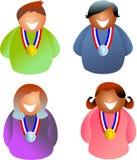 medaljfolk stock illustrationer
