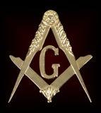Medaljfyrkant & kompass för frimureri guld- Royaltyfri Fotografi