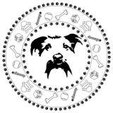 Medaljong för hundhuvud stock illustrationer