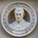 Medaljongbyst av Sir Francis Drake i Greenwich Royaltyfria Bilder