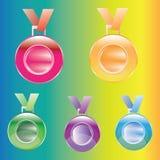 Medaljutmärkelser för det först, andra och tredje isolerade stället på en färgbakgrund Royaltyfri Foto