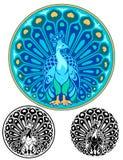 Medallón de Art Nouveau Peacock Imagen de archivo