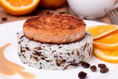 Medallón de color salmón con arroz cocinado mezclado en la placa blanca imagen de archivo