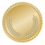 Medallón del oro con las hojas ilustración del vector