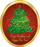 Medallón del saludo del Año Nuevo Stock de ilustración