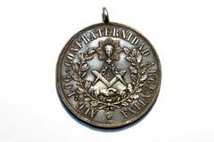 Medalla antigua del freemasonry Fotos de archivo libres de regalías