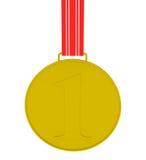 Medalla de oro aislada en blanco Imágenes de archivo libres de regalías