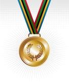 Medalla de oro con el fondo de las cintas ilustración del vector